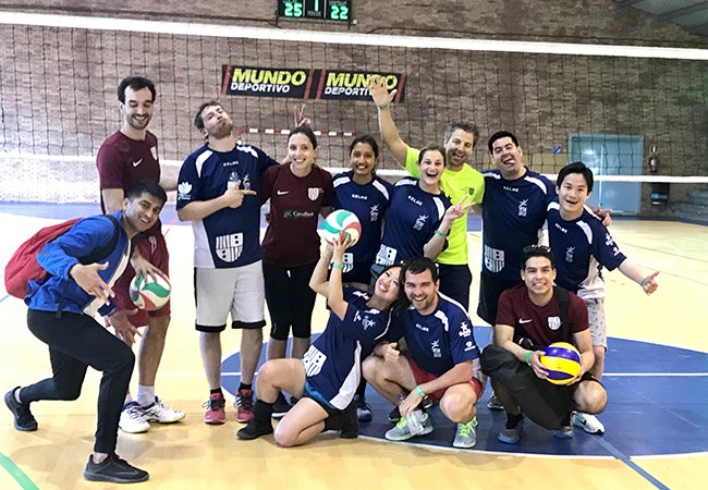 Students in volleyball uniforms