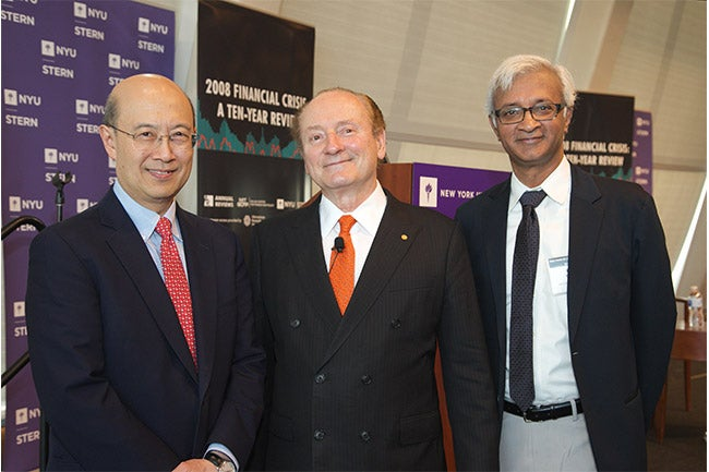 From left to right: Andrew Lo, Robert Merton, Raghu Sundaram