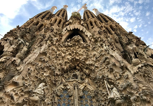 A close-up of the incredibly complex sculptures and carvings that cover one side of La Sagrada Familia Basilica.