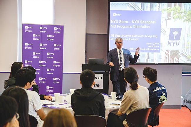 Dean Raghu Sundaram welcomes students from the inaugural classes of the two new one-year MS Programs