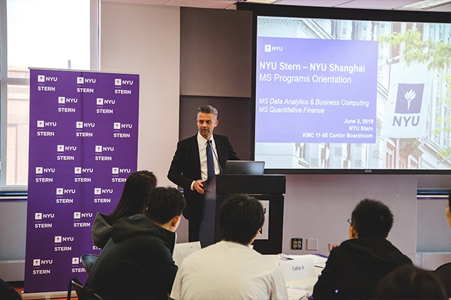 Director of NYU Stern-NYU Shanghai Programs Rohit Deo addresses the inaugural one-year master's programs cohorts