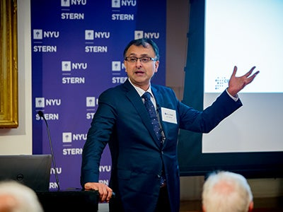 Ajay Agrawal presenting at the launch of CDL-New York City