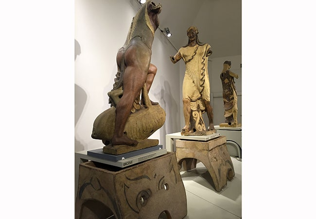 Ancient Etruscan statues on exhibit in Rome.