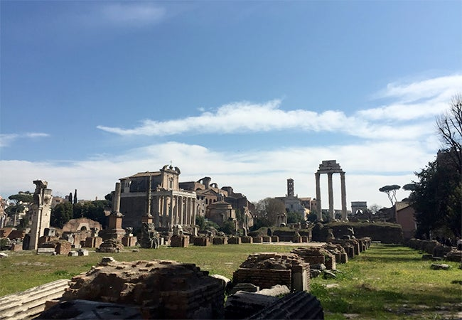 A collection of Roman ruins in the city of Rome, Italy.