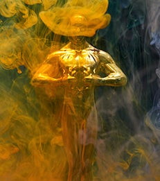 Gold award with smoke effects