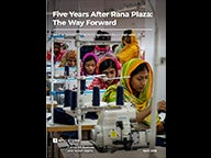 "Cover of ""Five Years After Rana Plaza: The Way Forward,"" a new report from the NYU Stern Center for Business and Human Rights"