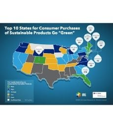 Ttop 10 states for consumer purchases of sustainable products heat map