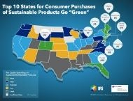 Top 10 states for consumer purchases of sustainable products heat map