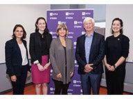Ann van Riel, Courtney Asher Thompson, Professor Tensie Whelan, Nobel Laureate Professor Robert Engle, and Christina Wong