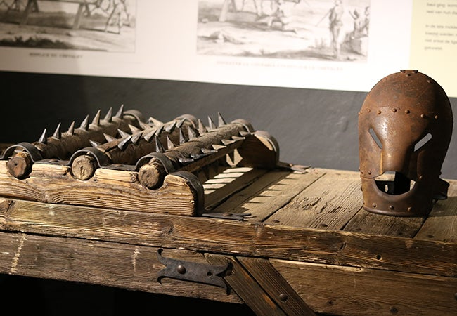 A spiky object on display at the Torture Museum Oude Steen in Belgium.