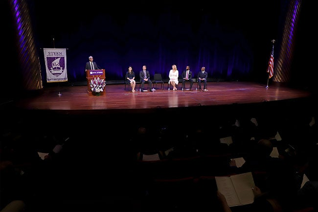 Dean Raghu Sundaram addresses the Executive MBA Class of 2019 at their Graduation Celebration