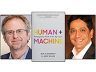 "Paul Daugherty, book cover of ""Human + Machine"" and Arun Sundararajan"