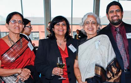 Dean Menon with (L-R) her aunt, mother, and son the night of her decanal reception, 2011