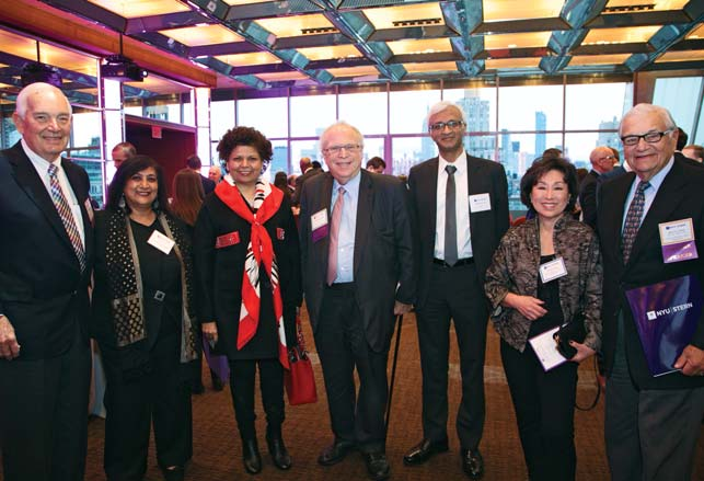Dean Menon with (L-R) Ed Barr, Chandrika Tandon, William R. Berkley, Dean Raghu Sundaram, Lois Choi, and Jerry Cohen at the NYU