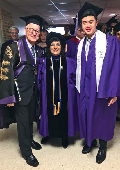 Dean Menon celebrates the class of 2018 with NYU President Andrew Hamilton and Student Council President Bill Tsai (BS '18)