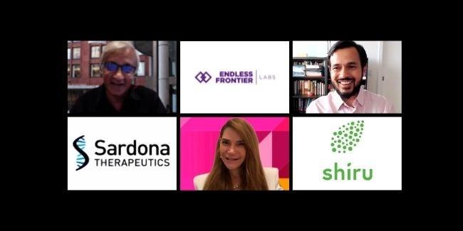 Raghu Sundaram, Endless Frontier Labs logo, Deepak Hegde, Sardona Therapeutics logo, Elizabeth Elting, Shiru logo