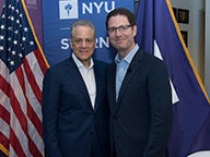 NYU Trustee Ronald D. Abramson (left) with Brian Brooks, Executive Vice President, General Counsel, and Corporate Secretary, Fan