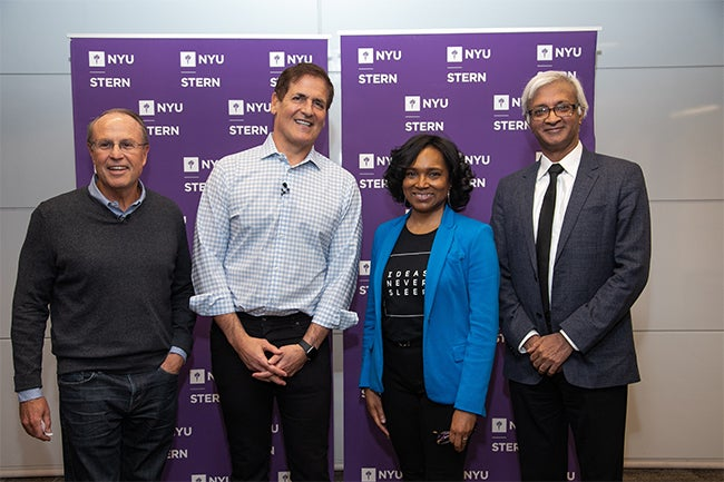 Left to right: Professor Greg Coleman, Mark Cuban, Professor Cynthia Franklin, Dean Raghu Sundaram