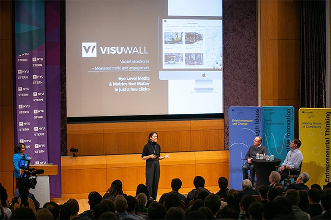 Kobi Wu (EMBA '15) of VisuWall, a platform that allows landlords to offer empty storefronts to advertisers