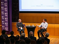 Professor Greg Coleman and Mark Cuban in Paulson Auditorium