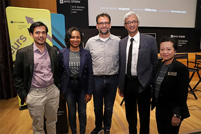 Professor Deepak Hegde, Cynthia Franklin, Frank Rimalovski, Dean Raghu Sundaram, and Phoebe Punzalan