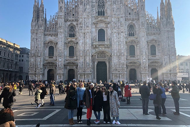 Students in front of Milan Cathedral