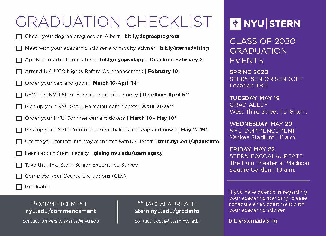 SP20 Graduation Checklist