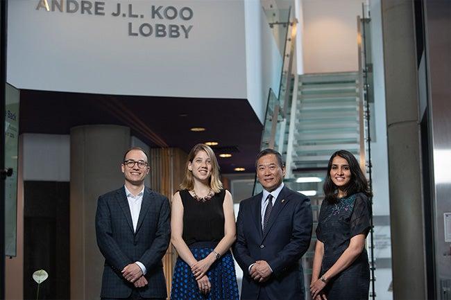 Andre Koo with John Caudle, Catalina Grillo and Sinduja Sivakumar