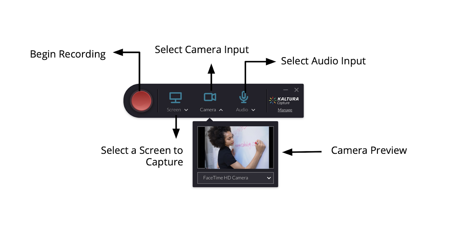Control panel for Kaltura Capture Tool