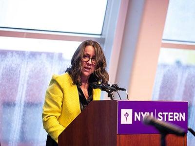 Provost Katy Flemming Speaks at Podium