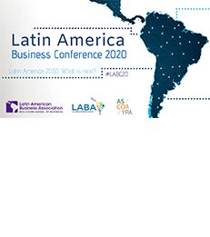 """Graphic with text, """"Latin American Business Conference 2020"""""""