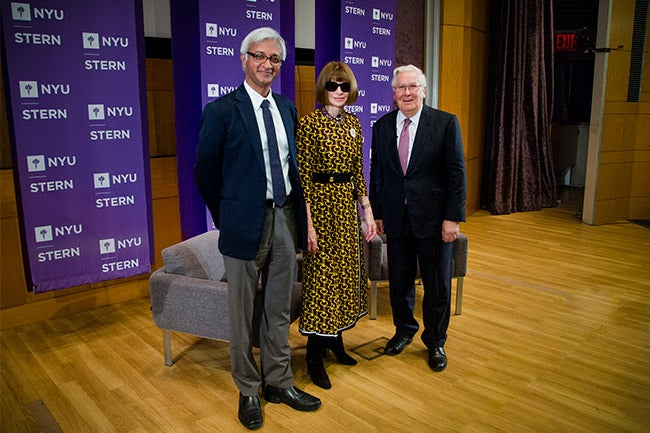 From left to right: NYU Stern Dean Raghu Sundaram, Anna Wintour, Lord Mervyn King