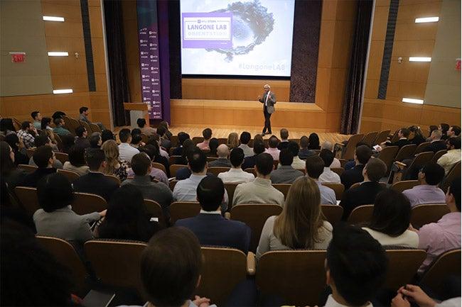 NYU Stern Dean Raghu Sundaram addresses the newest class of Langone part-time MBA students