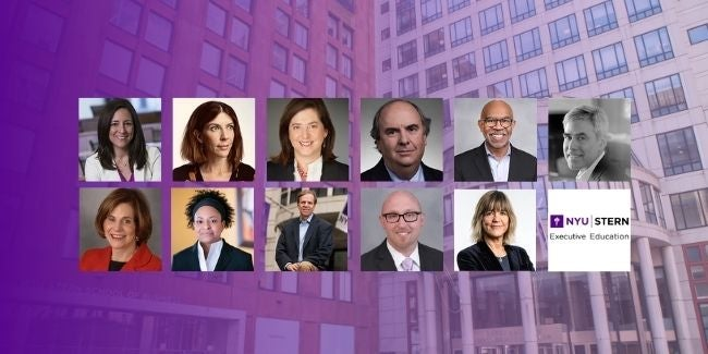 screenshot of collage of headshots of faculty teaching the leadership for the 21st century course