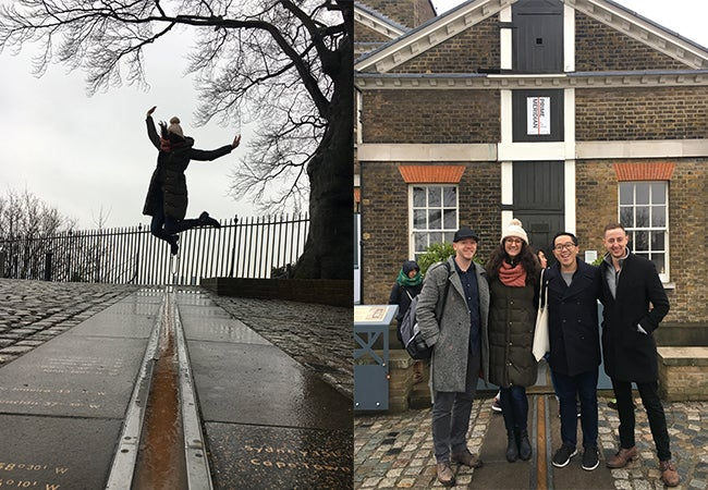 On left, a woman jumps over the official Prime Meridian line in a London park in front of an iron fence and a leafless tree. On right, a group of friends stands around the line and in front of a brick building.