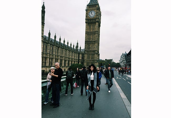Undergraduate business student Alexandra Grieco stands in front of Big Ben while studying abroad in Europe.