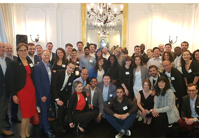 Executive MBA students pose for a photo together during a visit to Warsaw, Poland.