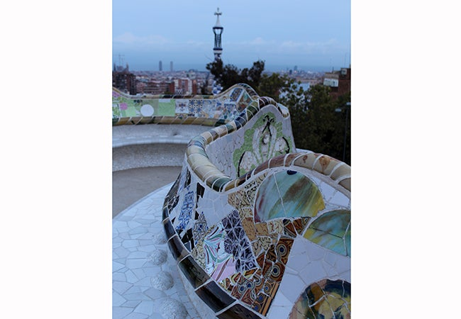 A mosaic bench at Park Guell in Barcelona.