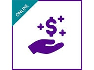 "Graphic with hand, dollar symbol and ""Online"""