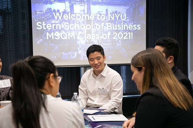 Students from the inaugural cohort of Stern's new online Master of Science in Quantitative Management (MSQM) Program