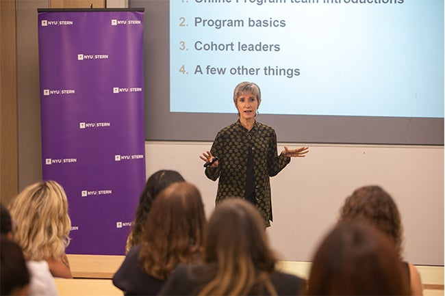 Kim Corfman, Professor and Vice Dean for Online Learning, provides an overview of the online MSQM Program to new students