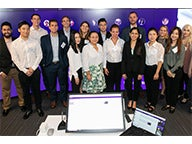 The inaugural cohort of Stern's new online Master of Science in Quantitative Management Program on campus in NYC