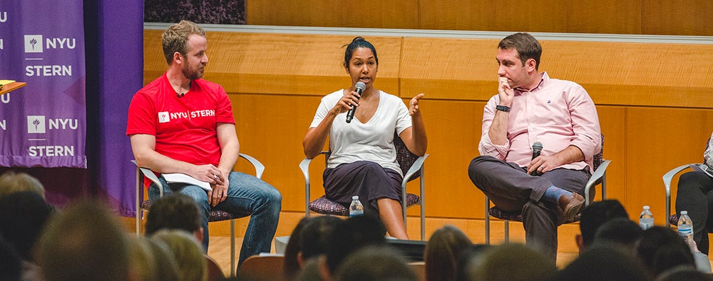 Stern alumni on a panel in Paulson Auditorium