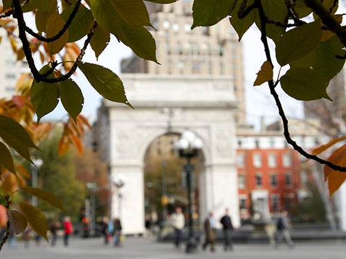 Washington Square Park arch in the fall
