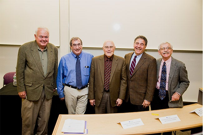 From left to right: Edwin Elton, William Greene, William Starbuck, Joel Steckel and Lawrence White