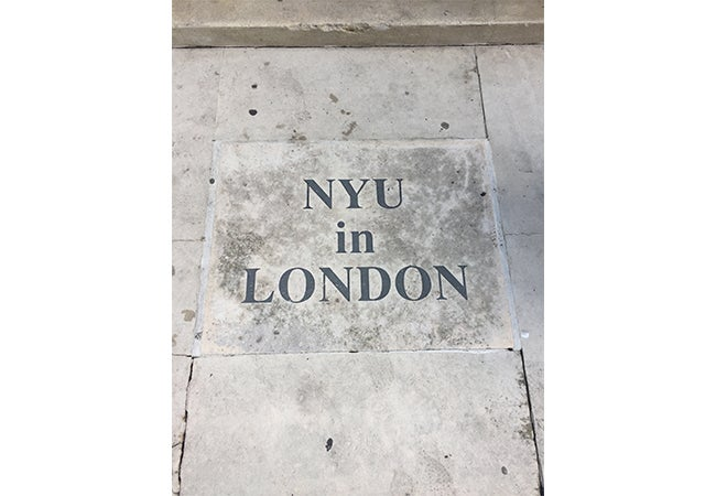 """NYU in London"" written in stone"