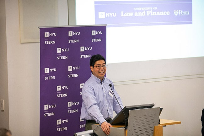 Stephen Choi, director of the NYU Pollack Center and NYU Law professor, delivers opening remarks