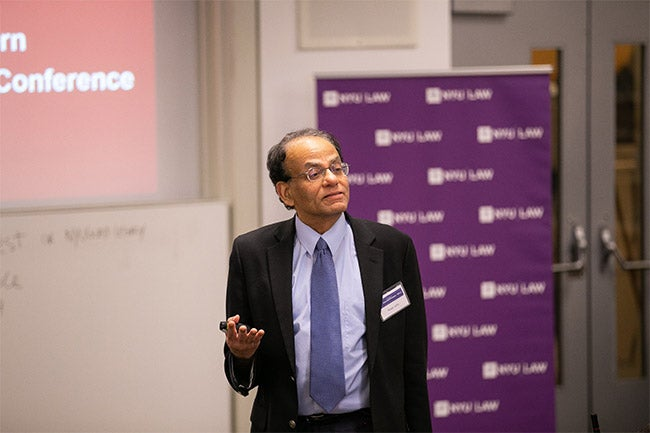 NYU Stern Professor Kose John serving as a commentator during a presentation