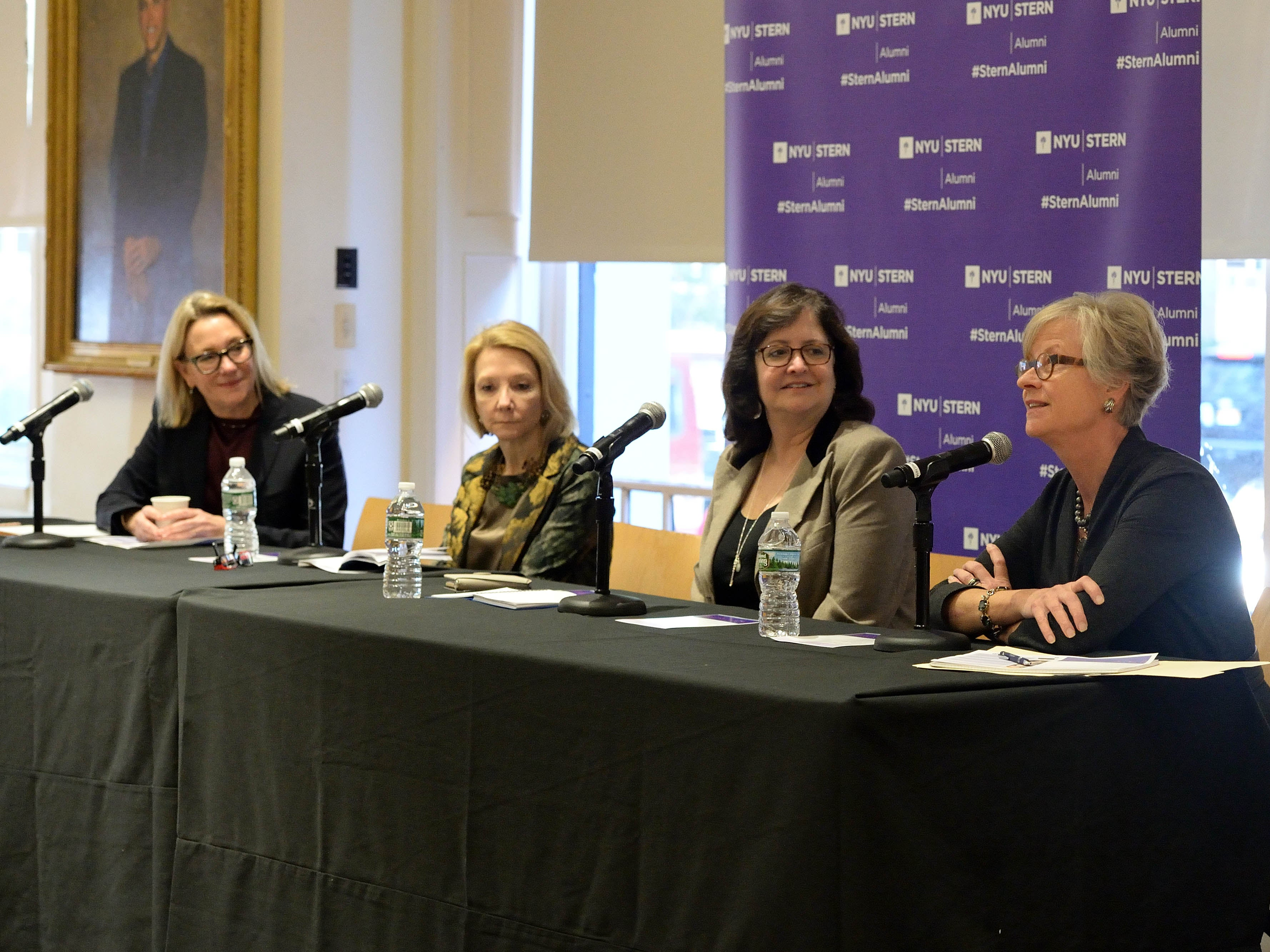 Candid photo of a panel discussion from NYU Alumni Day where SWIB was featured