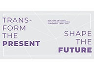 """Transform the Present. Shape the Future"" conference sign"